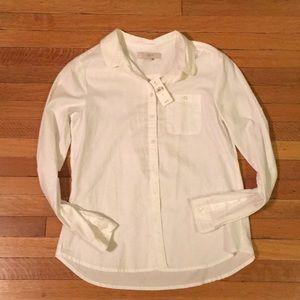 Ann Taylor Loft softened white button down shirt
